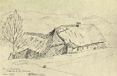 Kresba Fritze Blumentritta k jeho textu zachycuje chalupu v Ovesné u Želnavy...