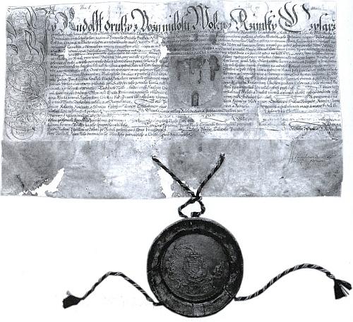 Česky psaná listina císaře Rudolfa II. o povýšení Hostouně na město (1587)