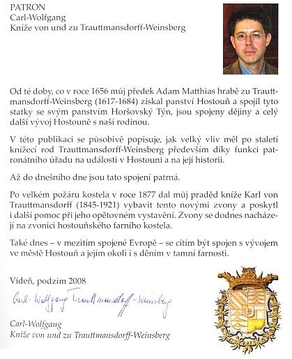 Příspěvek knížete zu Trautmannsdorff-Weinsberg do sborníku o dějinách farnosti Hostouň (2008)