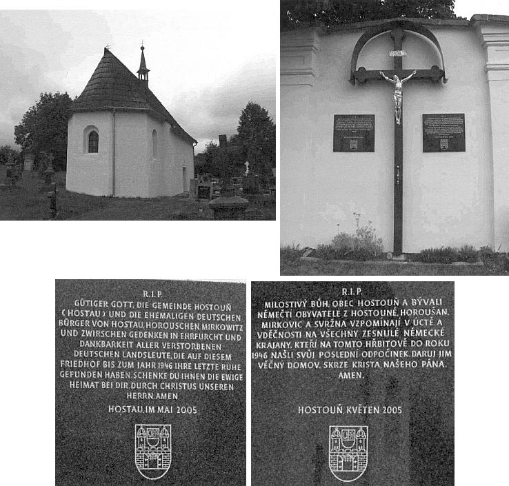 Hřbitovní kaple Nanebevzetí Panny Marie v Hostouni a kříž s německou a českou pamětní deskou na zdi hřbitova
