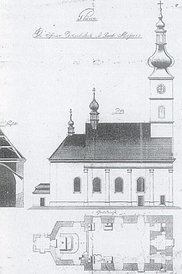 Hostouňský farní kostel sv. Jakuba staršího apoštola na náčrtu z r. 1808...