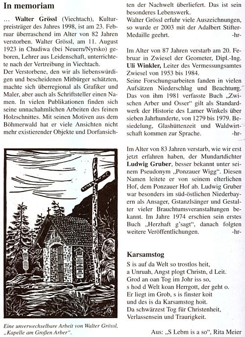 """Na stránce nadepsané """"In memoriam"""" najdeme mezi nekrology, psanými Haymo Richterem, vedle toho k úmrtí Waltera Grössla s grafikou kaple na Velkém Javoru i pár vět o Ulim Winklerovi"""