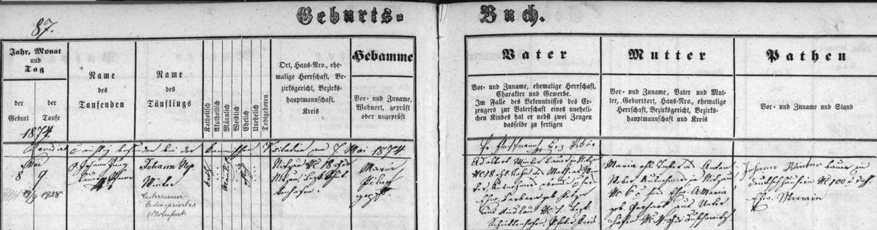Záznam o jeho narození v nicovské křestní matrice