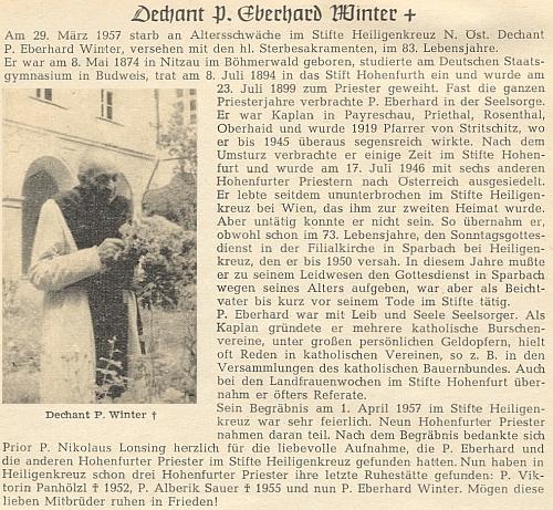 Jeho nekrolog se snímkem, zachycujícím ho roku 1953 na zahradě kláštera Heiligenkreuz