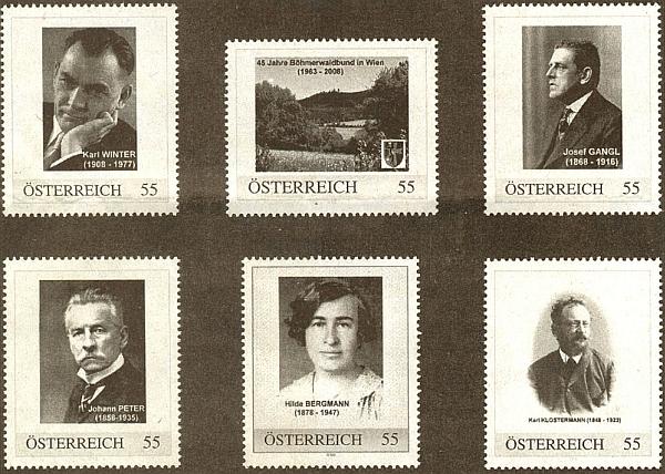 Série zvláštních známek ke 45. výročí sdružení Böhmerwaldbund ve Vídni z roku 2008 uvádí jeho podobiznu vedle Ganglovy, Peterovy, Bergmannové a Klostermannovy