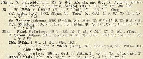 """Při seznamu učitelů v Nicově, kde byl ředitelem školy Josef Weber, zdejší rodák a absolvent učitelského ústavu vČeských Budějovicích roku 1902, jsou Karl Winter a Alois Josef Anderle, rovněž oba zdejší rodáci, uvedeni jako učitelé """"bez místa"""""""