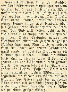 """Zpráva krajanského měsíčníku z roku 1951 oobsahu jeho vánoční hry """"Licht muß wieder werden!"""" (tj. """"Znovu musí být světlo!""""), uvedené školními dětmi vhornobavorském městě Neumarkt-Sankt Veit"""