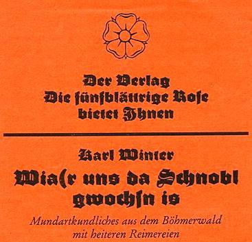 Repro záhlaví letáku vydaného nakladatelstvím  Die fünfblättrige Rose