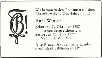 """Parte německého """"Staropražského akadmického krajanského družení Šumava"""", označujícího Wintera za""""čestného burše"""""""