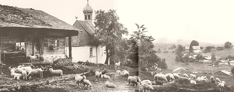 Jedna z nejkrásnějších historických fotografií z Bavorského lesa zachycuje vesnickou kapli     a pastýřovo stavení vLindbergu někdy kolem roku 1920