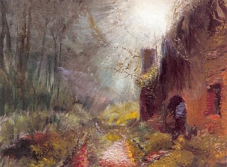 Obrazy Šumavská exprese (1999) a Potok Losenice (2000) z tvorby malíře Miroslava Houště