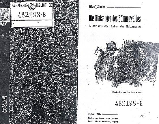 Obálka (1908) jeho zřejmě jinak konfiskované knihy vydané v České Krumlově (nakladatel Anton Weber) i se signaturou c.k. dvorní knihovny ve Vídni
