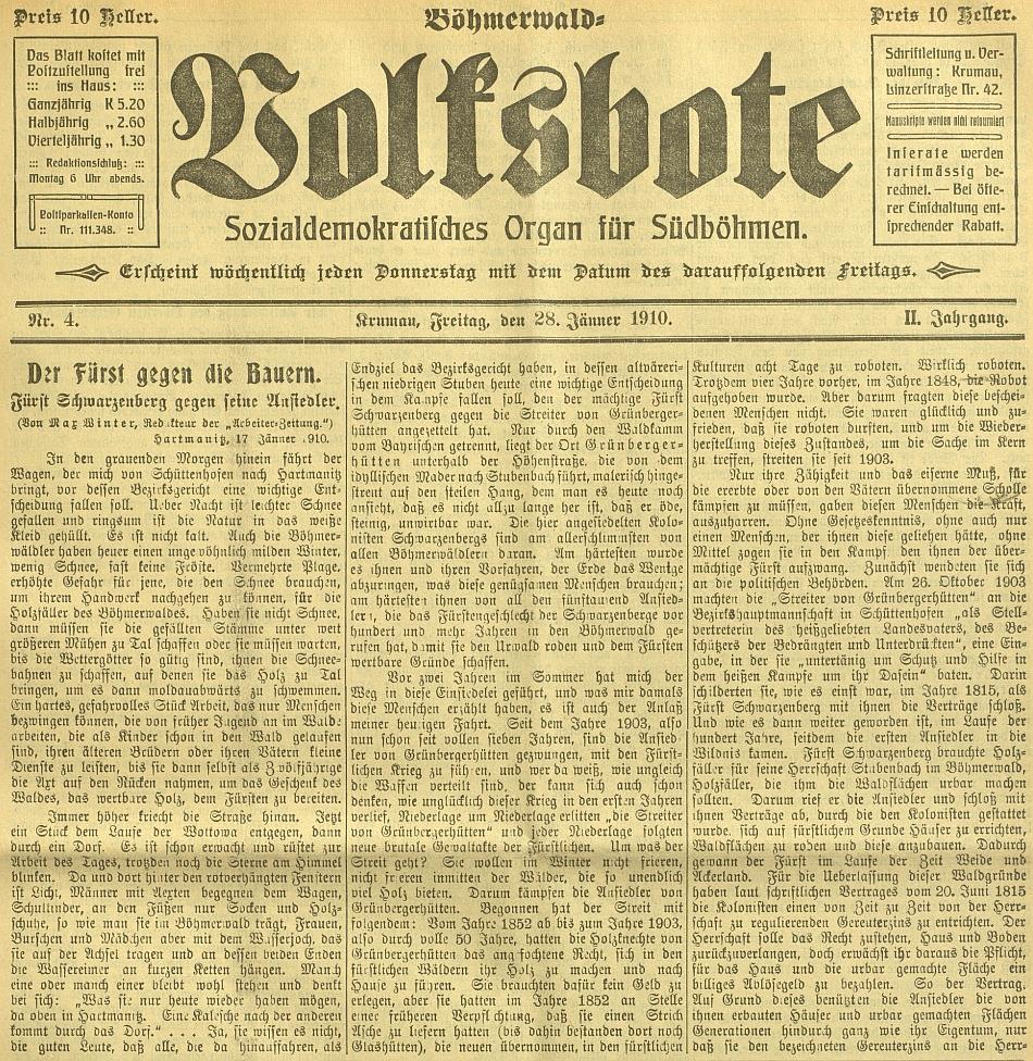 Záhlaví českokrumlovského sociálně demokratického listu Böhmerwald-Volksbote, jehož byl redaktorem, zde s jeho textem proti knížeti Schwarzenbergovi z roku 1910