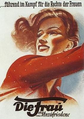 Až poválečný rakouský plakát připomíná časopis Die Unzufriedene, který řídil v letech 1923-1930 a do kterého přispívala i Erna Haberzettlová