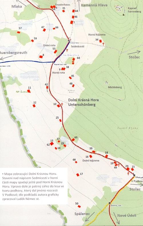 Na mapce, zobrazující Dolní Krásnou Horu, je dobře patrná poloha stavení čp. 18, kde se Josef Müller narodil