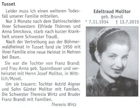 Sama tu referuje o úmrtích tří svých sester Elfriede, Anny a Edeltraud v jediném roce 2015