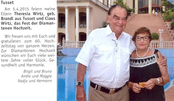 S manželem Clausem Wirtzem oslavila 5. dubna roku 2015 diamantovou svatbu