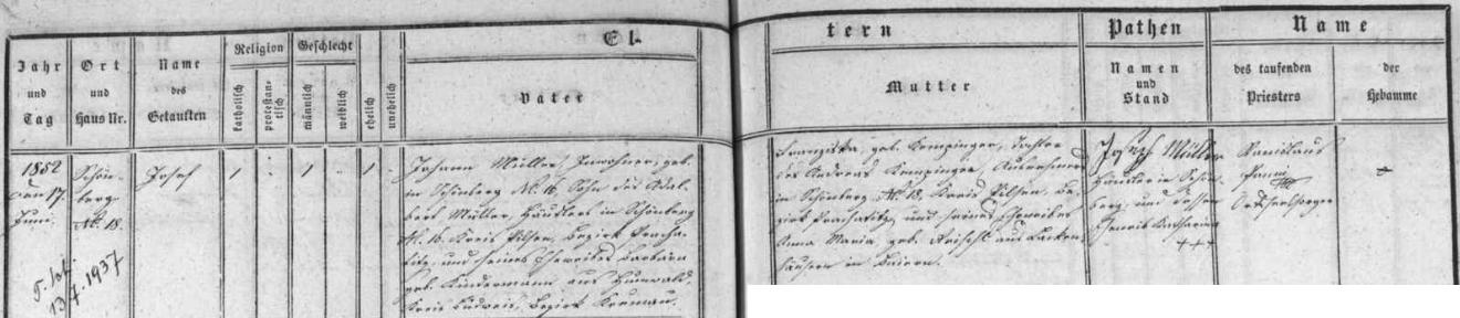 Záznam křestní matriky farní obce České Žleby o narození Josefa Müllera v Krásné Hoře čp. 18