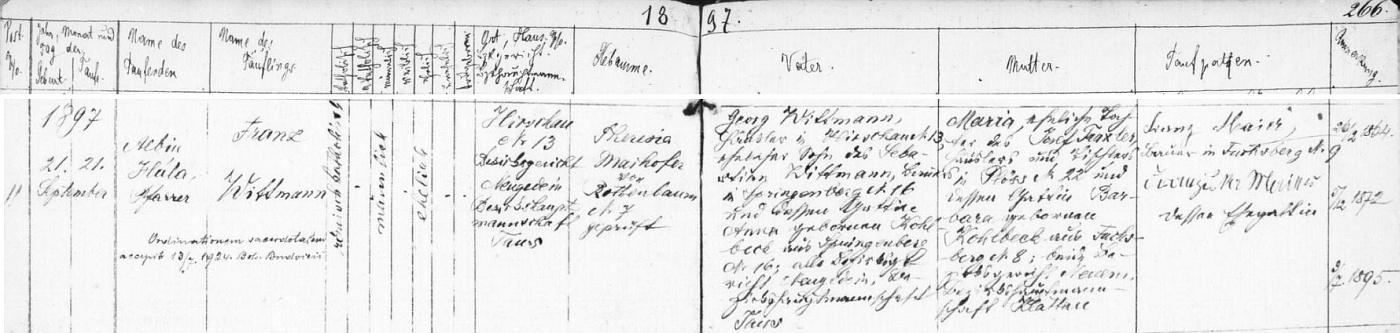 Záznam o jeho narození v Hyršově čp. 13 a křtu ještě téhož dne 21. září roku 1897 ve zdejším kostele Dobrého pastýře farářem Albinem Hálou - otec novorozence, hyršovský chalupník Georg Wittmann, byl synem Sebastiana Wittmanna, sedláka v dnes téměř zcela zaniklé obci Pomezí (Springenberg) čp. 12, a Anny, roz. Kohlbeckové z téhož tamního stavení čp. 12, novorozencova matka Maria byla pak dcerou chalupníka a truhláře v téměř rovněž dnes zaniklé Pláni (Plöss) čp. 22 Josefa Traxlera a Barbary, roz. Kohlbeckové z Liščí (Fuchsberg) čp. 8, vsi, z níž dnes zbývá jen několik chalup bez trvalých obyvatel
