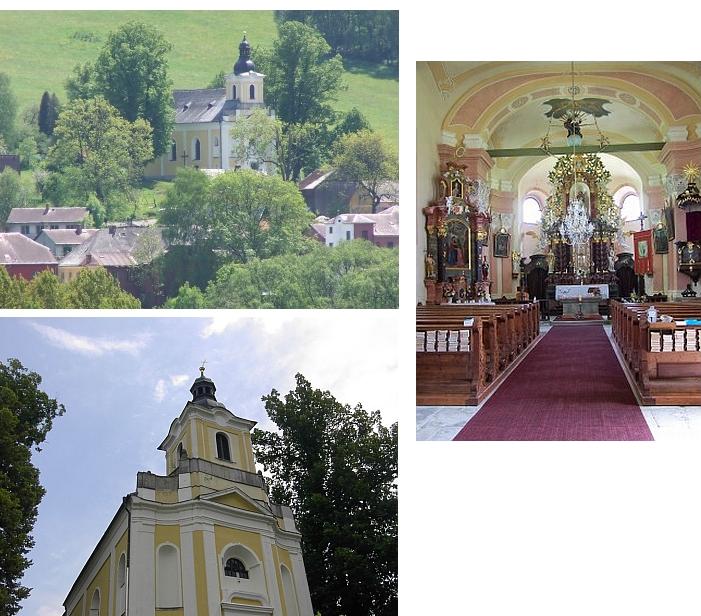 Barokní kostel sv. Jana Nepomuckého, ve kterém působil jako kněz až do vyhnání