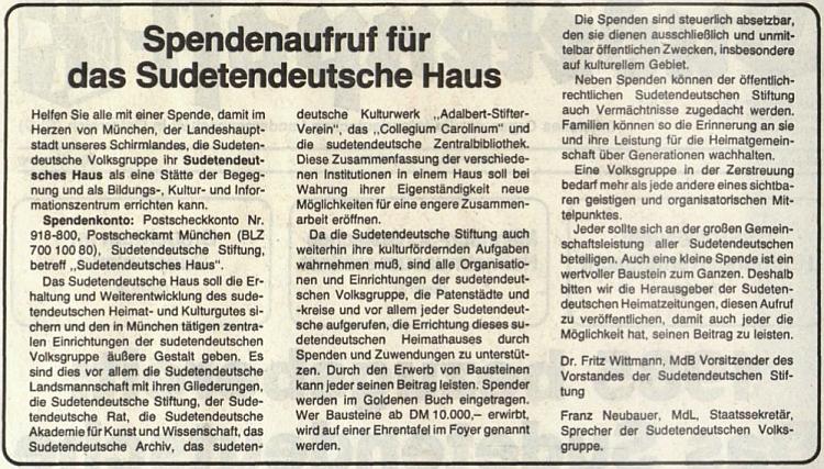 Tady je společně s Franzem Neubauerem podepsán pod výzvou na sbírku na stavbu Sudetoněmeckého domu v Mnichově