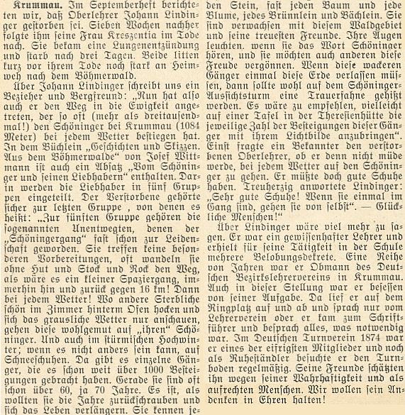 """Když v létě roku 1954 zemřel v hesenské obci Kiedrich učitel Johann Lindinger, věnoval mu krajanský měsíčník delší nekrolog s citací Wittmannovy knihy """"Geschichten und Skizzen"""", kde najdeme i celou kapitolu o milovnících hory Kleť, k nimž Lindinger podle nekrologu náležel"""