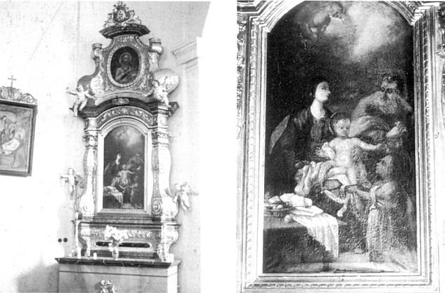 Narození Páně na levém bočním oltáři kostela ve Volarech na snímcích z roku 1991