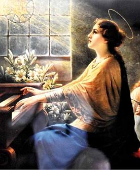 Dva výřezy z obrazu sv. Cecilie na kůru děkanského kostela ve Volarech