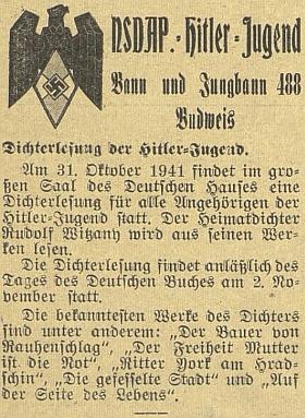 """V říjnu roku 1941 četl pro """"všechny členy Hitlerjugend"""" ve velkém sále českobudějovického Německého domu ze svých prací u příležitosti Dne německé knihy"""
