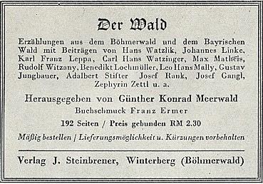 """Inzerát na """"šumavskou"""" antologii s jeho účastí u vimperského Steinbrenera za druhé světové války - jako editor je uveden Günther Konrad Meerwald"""