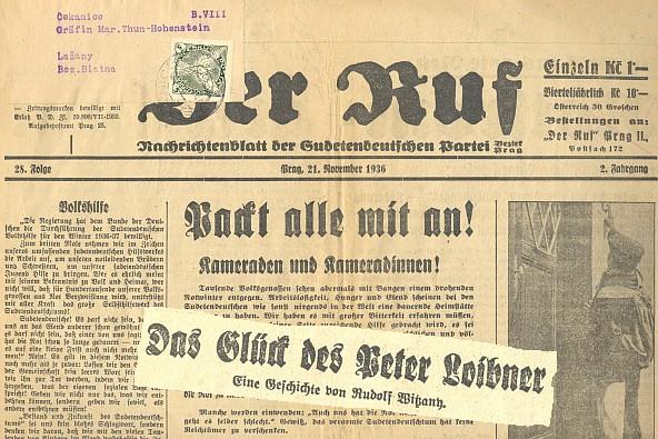 Záhlaví listu Der Ruf (21. 11. 1936), vydávaného Sudetoněmeckou stranou Konrada Henleina s adresním štítkem hraběnky Thun-Hohensteinové v Lažanech a uvnitř s autorovou povídkou