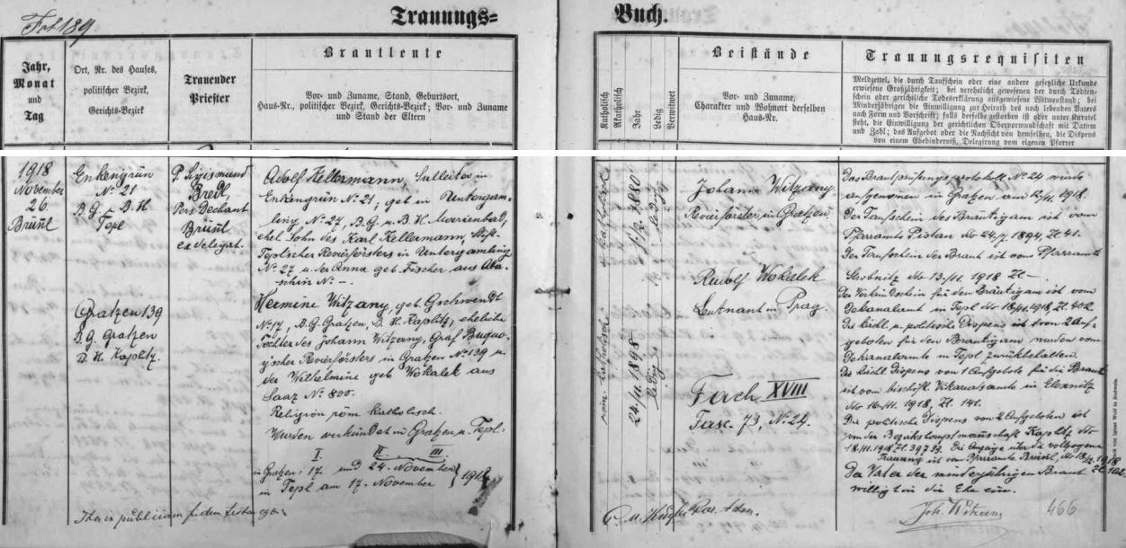Záznam o svatbě jeho sestry Hermine v Dobré Vodě u Nových Hradů z listopadu 1918 uvádí i data jejich rodičů - otec, hraběcí buquoyský revírník,  dokonce připojil podpis nejen jako svědek, nýbrž navíc vpravo dole jako znamení souhlasu se svatbou vůbec pro dceřinu nezletilost