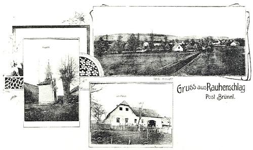Pohlednice z Rauhenschlagu, jak se kdysi jmenovala Chlupatá Ves