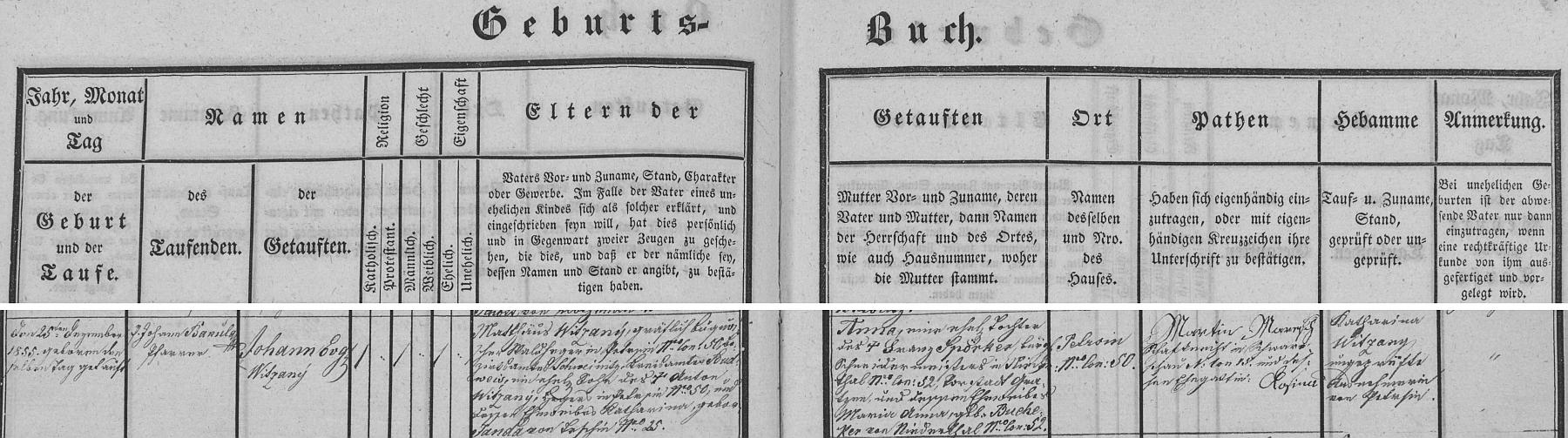Vazba petříkovské křestní matriky s německým záznamem o narození otcově s příjmením Witzany, na buquoyském panství docela častým
