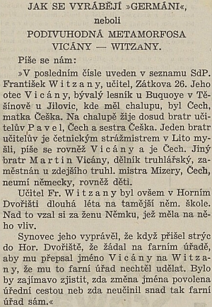 Změna jeho příjmení v osudovém roce 1938 se stala tématem i pro český tisk