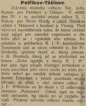 Zpráva z českých novin připomíná v zajímavé souvislosti hostinec jeho pravděpodobného příbuzného v Těšínově