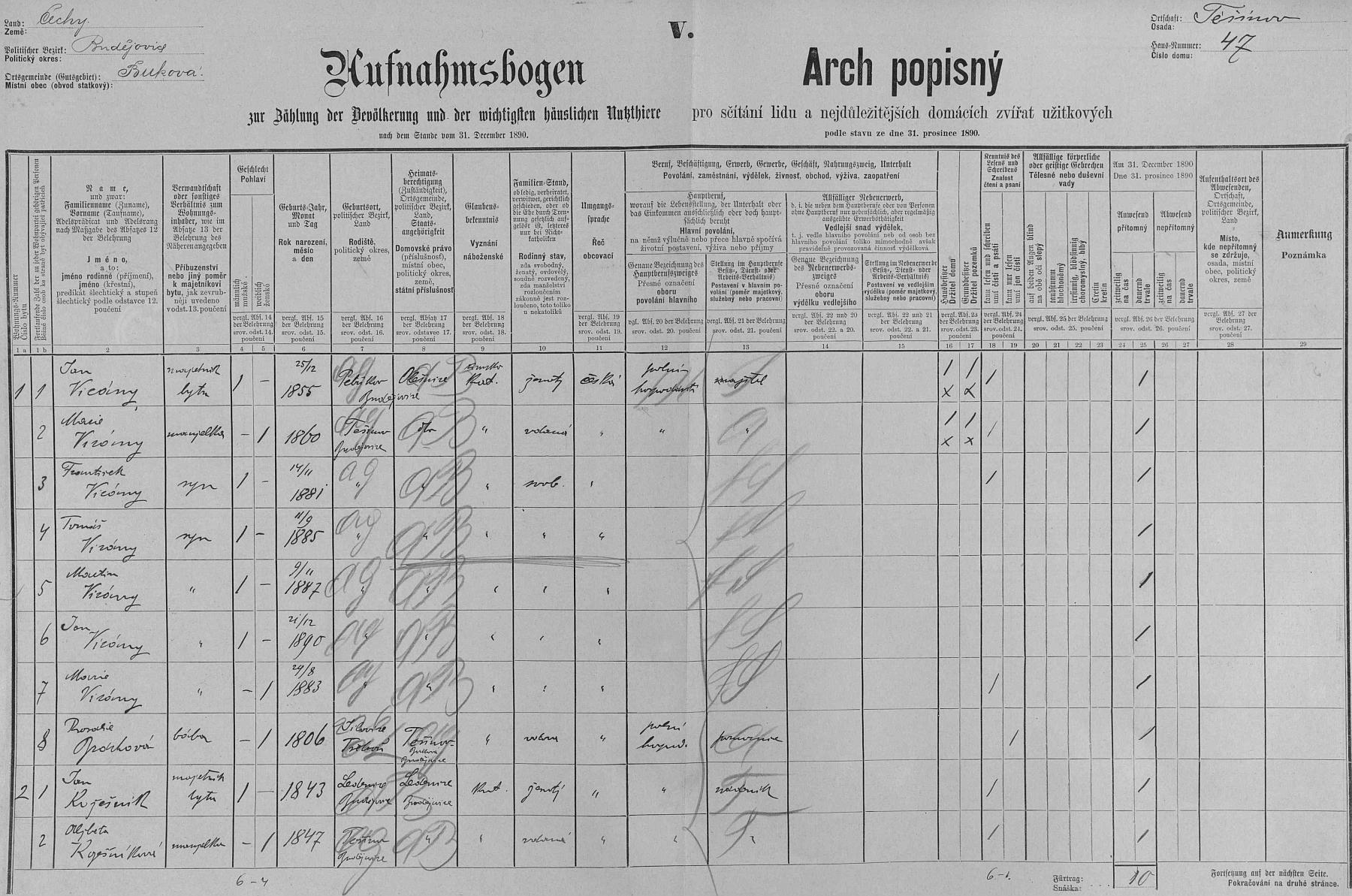 """""""Arch popisný"""" z roku 1890 s početnou rodinou Vicányovou na stavení čp. 47 v Těšínově"""