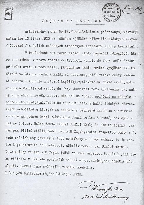 Česky psaný dokument otcův i s jeho podpisem z roku 1930 coby ředitele městského muzea v Českých Budějovicích