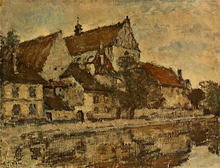 Staré Budějovice je název oleje Adolfa Trägera z roku 1957, zde na reprodukci ze zadní strany časopisu Květy