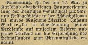 Zpráva o otcově jmenování čestným členem německé společnosti pravěkých astarověkých dějin v ČSR na stránkách českobudějovického německého listu