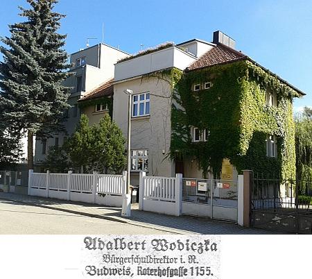 Dům, který po Wodiczkových v Českých Budějovicích zůstal v Kaplířově ulici, za války zvané Roterhofgasse, česky Červenodvorská