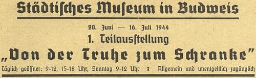 Inzerát na bezplatně přístupnou výstavu v létě 1944