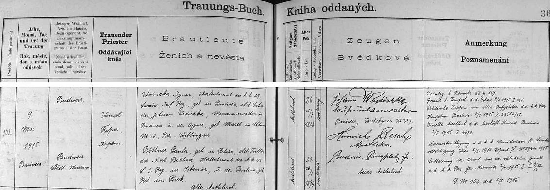 """Záznam o jeho svatbě v českobudějovické """"Knize oddaných"""" je už psán jen německy, otec Johann Wodiczka se podepisuje již s titulem """"Museumverwalter"""", tj. správce muzea, nevěstin otec byl c.k. """"Oberleutnant"""", tj. nadporučík, toho času v dalmatském Šibeniku, její matka, roz. Rešová z Písku, zřejmě přivedla druhého ze svědků, českobudějovického lékárníka Jindřicha Reše, který se ovšem píše Heinrich Resch"""