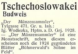 """Takto prezentoval jeho časopisy """"Der Münzensammler"""" a """"Böhmerwald's Söhne im Feld"""" meziválečný """"Lexikon německých nakladatelství"""""""