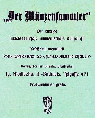 """Inzerát na jím vydávaný numismatický měsíčník """"Der Münzensammler"""" (1928-1936)"""