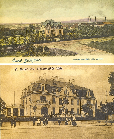 Vily majitelů firmy L.&C. Hardtmuth na starých pohlednicích: nahoře Lamezanova vila z roku 1900, dole Hardtmuthova z roku 1912 (vpravo za ní vidíme věže synagogy)