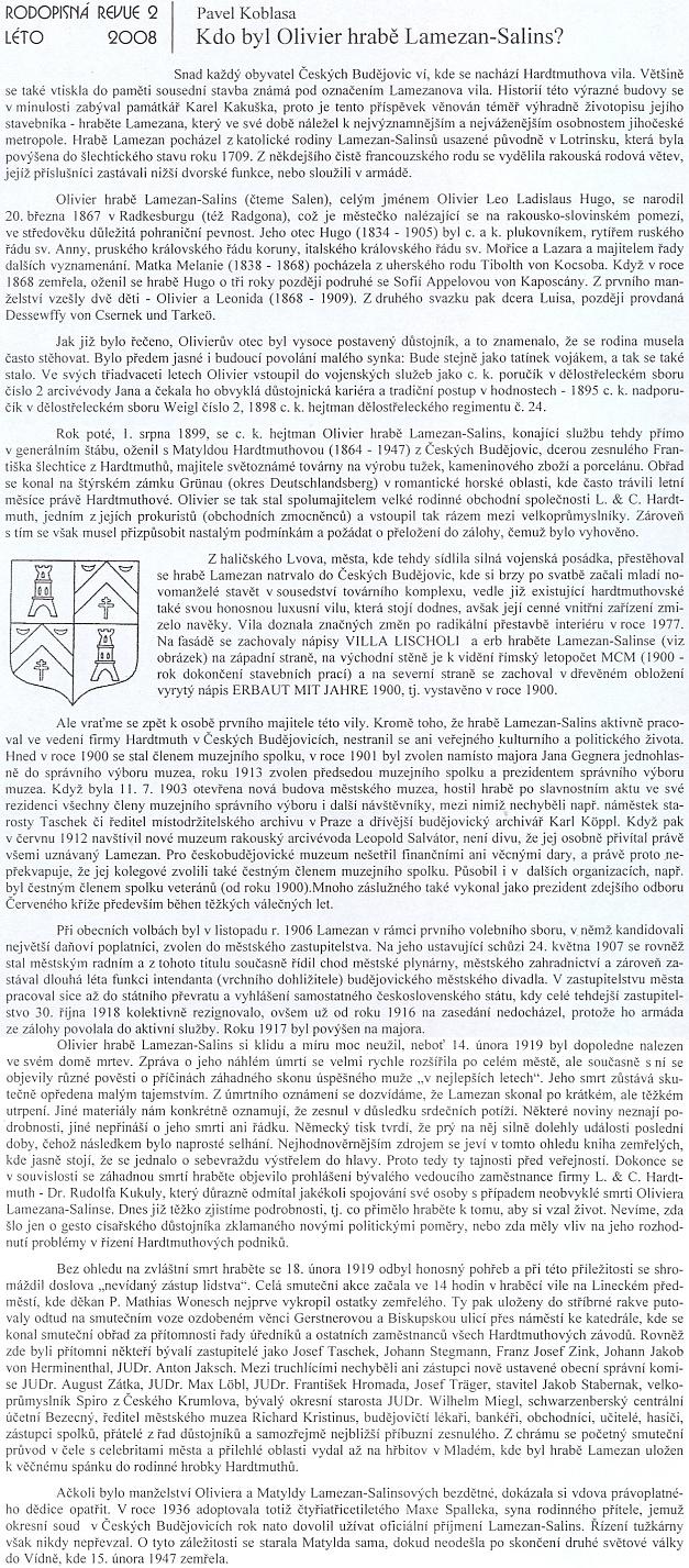 Osobnost hraběte Lamezana-Salinse podrobně popsal Pavel Koblasa na stránkách Rodopisné revue