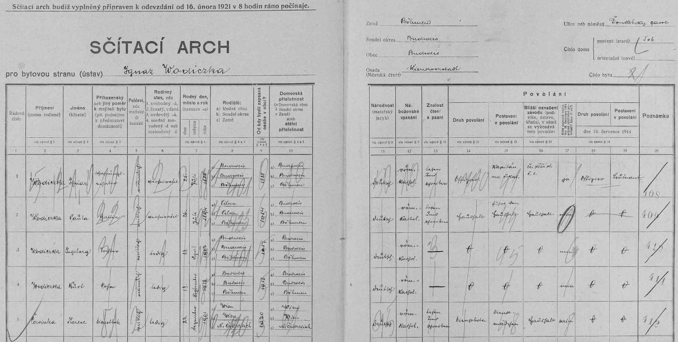 Vlastní rukou tu na archu sčítání lidu z roku 1921 zaznamenal v českobudějovickém domě čp. 506 na Doudlebské (dnes Dukelské) ulici data svá (označil se německy jako poručík /Leutnant/, česky jako kapitán čekatel při čs. pěším pluku č. 1), své ženy Pauly, narozené 26. července 1894 v Plzni, dcery Ingeborg, narozené 23. dubna 1917 v Českých Budějovicích, syna Kurta, narozeného 13. září 1918 v Českých Budějovicích, i služky Therese Červinkové, narozené roku 1901 ve Vídni