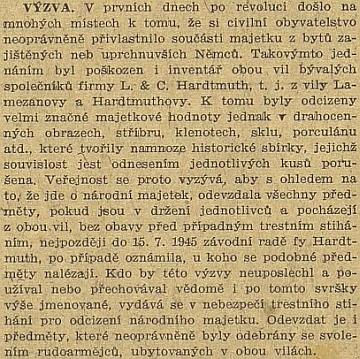 Vila Lamezanova a Hardmuthova v rukou rudoarmějců a české lůzy roku 1945