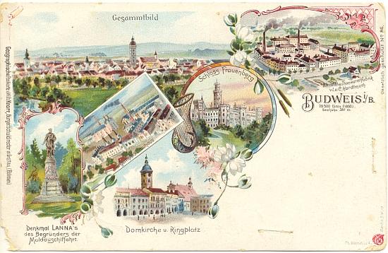 """Na této budějovické pohlednici figurují Hardtmuthovy továrny """"na tužky a hliněné zboží"""" na opravdu čelném ještě místě"""
